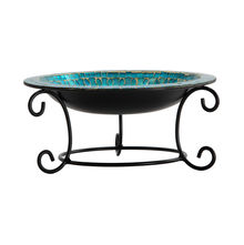 Stylish Glass Bowl With Metal Stand - @home Nilkamal, sky blue