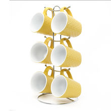 Elite Stoneware Tea Set of 6 with Stand - @home by Nilkamal, Yellow