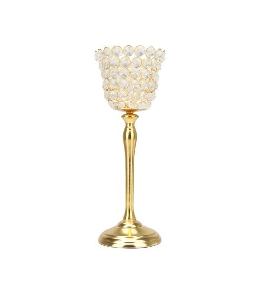 Crystal Drops Small Cup Candle Holder- @home By Nilkamal, Gold