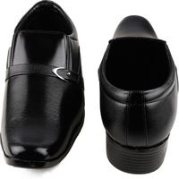 one99 formal man's Black Without Laces shoes LU04, 9