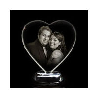 Personalized Photo Crystal - Heart Couple - Size 5 inch by 5 inch by 12mm