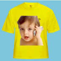 Personalized Photo T-shirts Round Neck Yellow