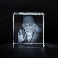 Personalized 3D crystal cut cube 40mm x 40mm x 40mm