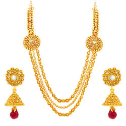 Sukkhi Cluster Three String Gold Plated Necklace Set For Women