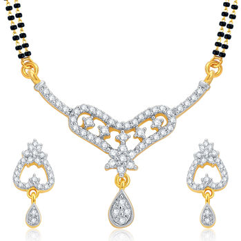 Pissara Fancy Gold and Rhodium Plated CZ Mangalsutra Set For Women