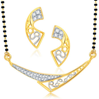 Pissara Attractive Gold and Rhodium Plated CZ Mangalsutra Set