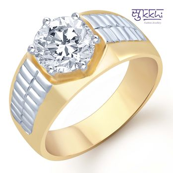 Pissara Gold and Rhodium Plated Solitaire CZ Ring for Men(122GRK700), 24
