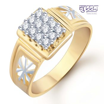 Pissara Gold and Rhodium Plated CZ Ring for Men(102GRK510), 21