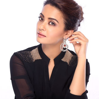 Sukkhi Surveen Chawla Collections Intricately Gold and Rhodium Plated Cubic Zirconia Earrings