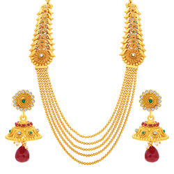 Sukkhi Graceful Four String Gold Plated Necklace Set For Women