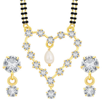 Sukkhi Exotic Heart Gold Plated CZ Mangalsutra Set For Women