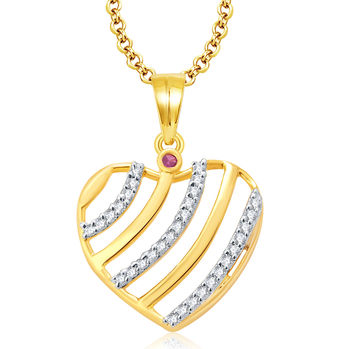 Pissara Cute Gold And Rhodium Plated Ruby CZ Pendant For Women