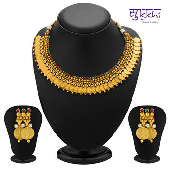 Sukkhi Enchanting Gold Plated Temple Jewellery Coin Necklace Set for Women
