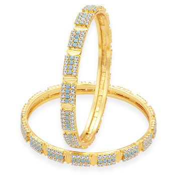 Sukkhi Finely Firozi Colour Stone Gold Plated AD Bangle For Women, 2.8