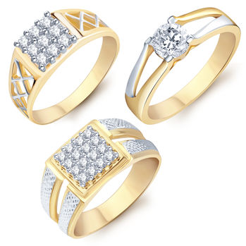 Pissara Incredible Gold & Rhodium Plated CZ Set of 3 Ring Combo For Men, 20
