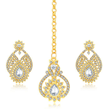 Sukkhi Amazing Gold Plated AD Earring With Mangtikka Set For Women