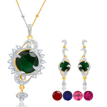 Pissara Delightly Gold and Rhodium Plated CZ Pendant Set with Set of 5 Changeable Stone