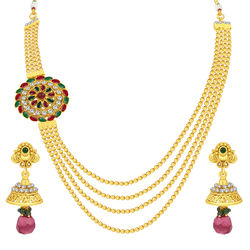 Sukkhi Cluster Four String Gold Plated Necklace Set For Women