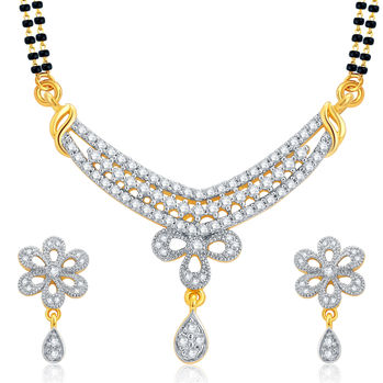 Pissara Enchanting Gold and Rhodium Plated CZ Mangalsutra Set For Women