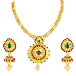 Sukkhi Shimmering Laxmi Coin Temple Gold Plated Necklace Set For Women