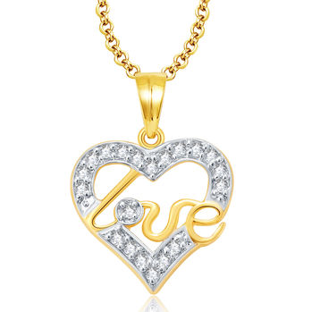 Pissara Lovely Gold And Rhodium Plated CZ Pendant For Women