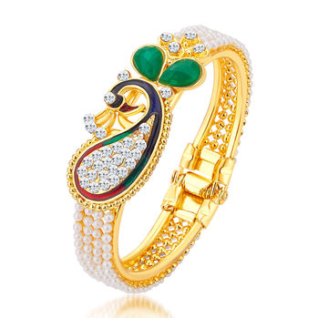 Sukkhi Marquise Peacock Gold Plated AD Kada For Women