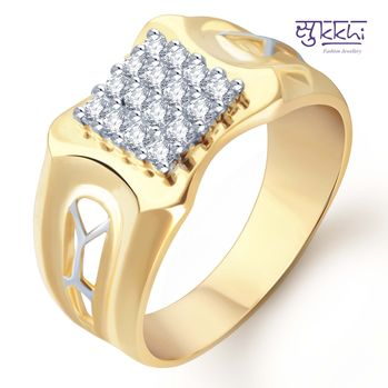 Pissara Gold and Rhodium Plated CZ Ring for Men(104GRK680), 22