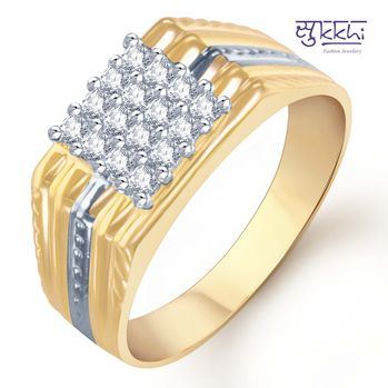 Pissara Gold and Rhodium Plated CZ Ring for Men(101GRK600), 24