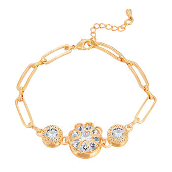 Sukkhi Intricately Solitaire Gold Plated CZ Bracelet For Women