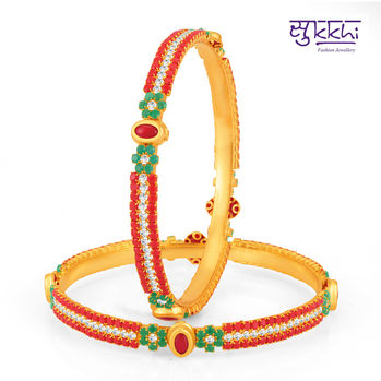 Sukkhi Pleasing Gold Plated Set OF 2 Coral Bangle, 2.4