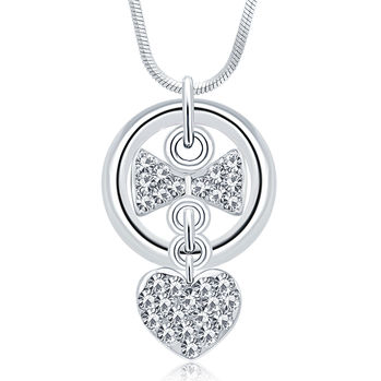 Sukkhi Pleasing Rhodium Plated Austrian Crystal Valentine Heart Pendant With Chain