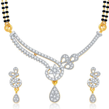 Pissara Cluster Gold and Rhodium Plated CZ Mangalsutra Set For Women