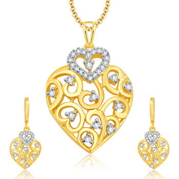 Pissara Chic Gold And Rhodium Plated CZ Pendant Set For Women