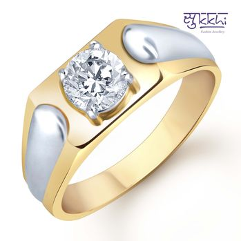 Pissara Gold and Rhodium Plated Solitaire CZ Ring for Men(129GRK590), 20
