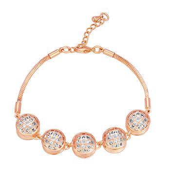 Sukkhi Glittery Solitaire Gold Plated CZ Bracelet For Women