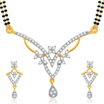 Pissara Angelic Gold and Rhodium Plated CZ Mangalsutra Set For Women