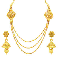 Sukkhi Charming Three String Gold Plated Necklace Set For Women