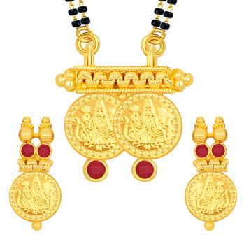 Sukkhi Brilliant Laxmi Temple Coin Gold Plated Mangalsutra Set For Women