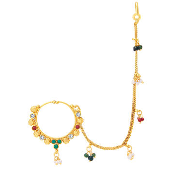 Sukkhi Creative Gold Plated Nose Pin For Women