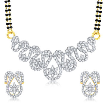 Pissara Youthful Gold Plated CZ Mangalsutra Set For Women