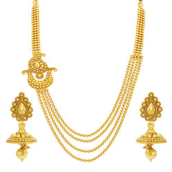 Sukkhi Fancy Four String Paisley Gold Plated Necklace Set For Women