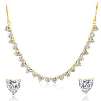 Pissara Incredible Gold and Rhodium Plated CZ Necklace Set For Women