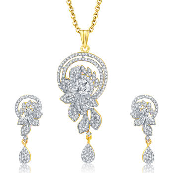 Pissara Dapper Gold And Rhodium Plated CZ Pendant Set For Women
