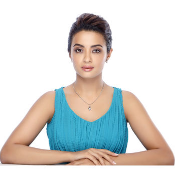 Sukkhi Surveen Chawla Collections Fabulous Rhodium Plated Solitaire CZ Pendant Set