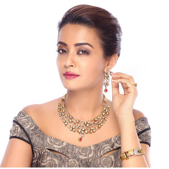 Sukkhi Surveen Chawla Collections Marvellous Gold Plated Kundan and CZ Fusion Jewellery Set