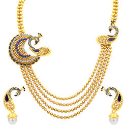 Sukkhi Fascinating Four String Peacock Gold Plated Necklace Set For Women