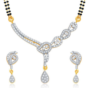 Pissara Bewitching Gold and Rhodium Plated CZ Mangalsutra Set For Women