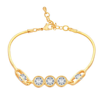 Sukkhi Alluring Solitaire Gold Plated CZ Bracelet For Women