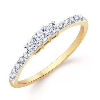 Pissara Sublime Gold and Rhodium Plated CZ Ring, 14