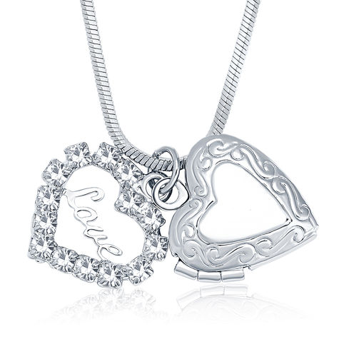 Sukkhi Graceful Openable Rhodium Plated Austrian Crystal Valentine Heart Pendant With Chain